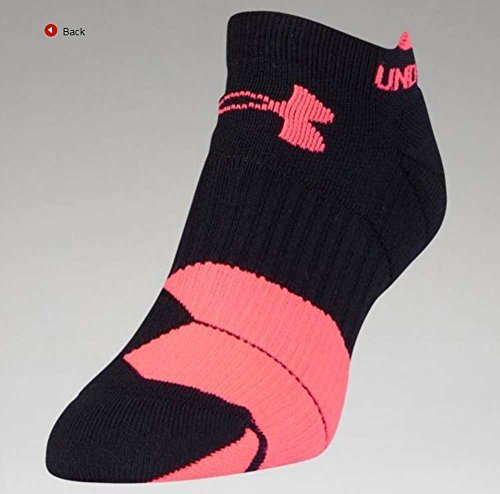 Under Armour UA Men's Run Cushion Tab No Show Sock 1292820 (Black/Pink, M)