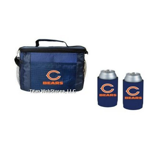 NFL Football Tailgating Picnic Cooler & Neoprene Can Insulator (2) Gift Set (Bears) ()