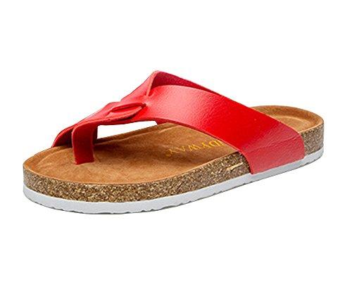 Mujer Verano Plana Chancletas Unisexo Zapatillas Sandalias clip dedo del pie sandalias zapatos de playa Rojo