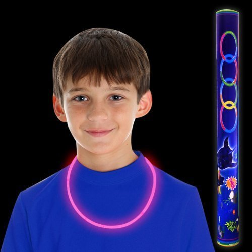Fun Central S9, 22 Inch 50 ct Pink Premium Glow Necklaces, Glow in the Dark Necklaces, Glow Stick Necklaces, Glow Necklaces Bulk– for Neon Parties, Glow Themed Celebrations, Birthdays, Raves, and Halloween