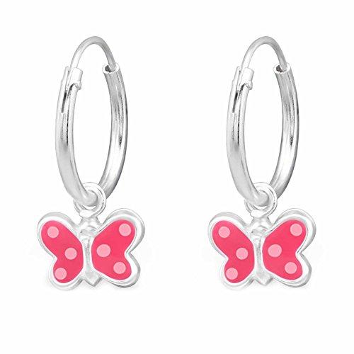 SL de Silver Niños Pendientes Pendientes de aro rosa mariposa 925plata en caja de regalo