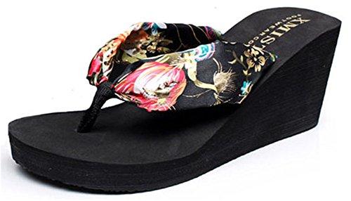 Femme Style Talon Night Plage De Noir Compensé Chaussure Sandales Pour Good Bohème gXqvxwZZ