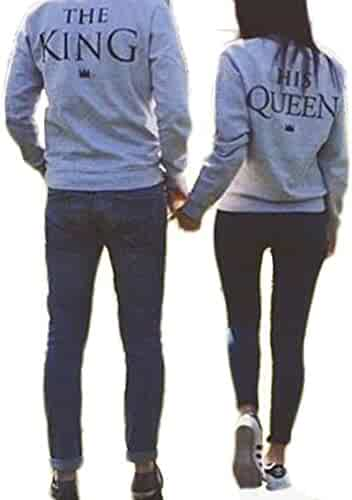 Beilihong The King And His Queen Grey Couple T-Shirt Round Neck Loose Couple Shirt