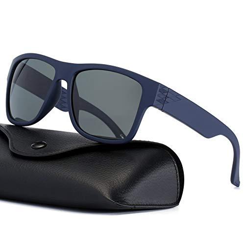 Polarized Sunglasses Sport for Men that Floating Shades for Driving Fishing Surfing Boating Water Sport Nylon Lenses UV Protection, Navy Blue Frame Grey Lens ()