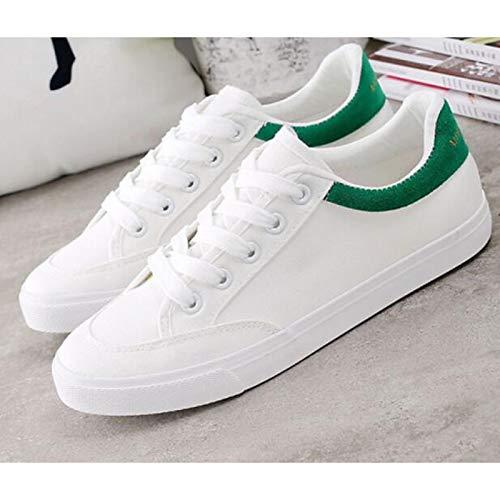 ZHZNVX para Primavera Blanco Verde Silver Deporte White de tacón de Zapatillas Blanco Deporte con Zapatillas Negro Lona Mujeres Plano de Plateado de Blanco XpxSrX