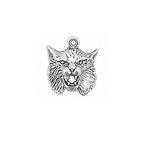 (Sterling Silver Bobcat Head School Sports Mascot Charm Item #895)