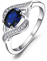 Created Blue Sapphire Natural Swiss Blue Topaz Statement Ring 925 Sterling Silver