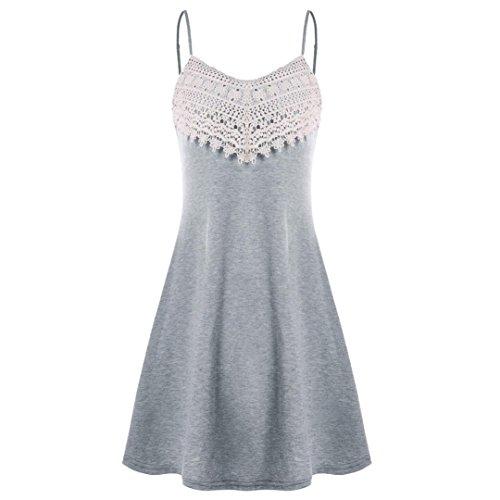 VEZAD Fashion Crochet Lace Backless Mini Slip Womens Dress Camisole Sleeveless Dress