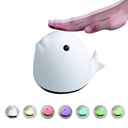 Animal Silicone Lamp Pat Light Dolphin Light 7Color Modes Smart lights Are Optional Silicon Clap Lamp USB Rechargeable Night Light Desktop lamps (white)