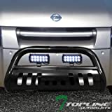 Topline Autopart Black Bull Bar Brush Push Bumper Grill Grille Guard With Skid Plate + 36W Cree LED Fog Lights For 01-04 Nissan Frontier ; 02-04 Xterra