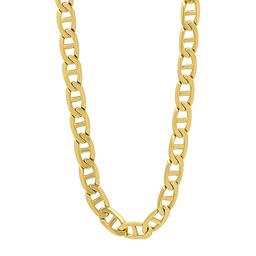 - The Bling Factory Men's 6mm 14k Gold Plated Mariner Link Chain Necklace, 24