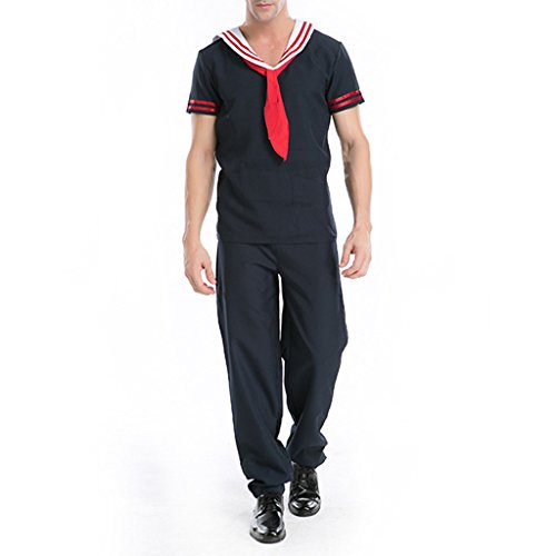 Wotefusi Men's Halloween Party Cosplay Costume Sailor's Suit Top Pant & (Sailor Suits For Men)