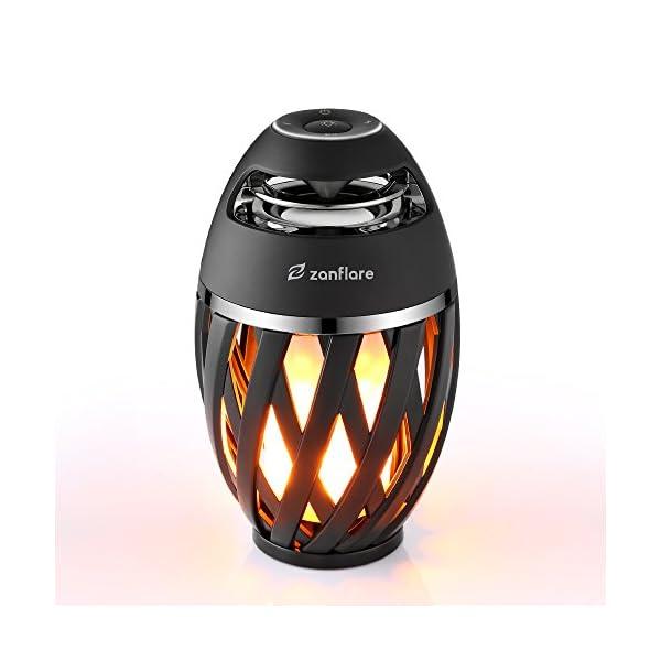 Zanflare Lampe Ambiance avec Effet de Flamme, Enceinte Bluetooth, USB Rechargeable, sans Fil, Etanche IP65 Lampe Design Moderne, Lampe de Chevet avec Haut-Parleur 1
