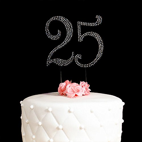 Shiny Crystal HAPPY ANNIVERSARY Monogram Cake Topper Party Décor-Gold