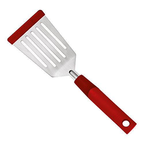 Kuhn Steel Spatula Stainless Rikon (Kuhn Rikon 27568 Stainless Steel SoftEdge Flexi Turner with Silicone Edge, Red)
