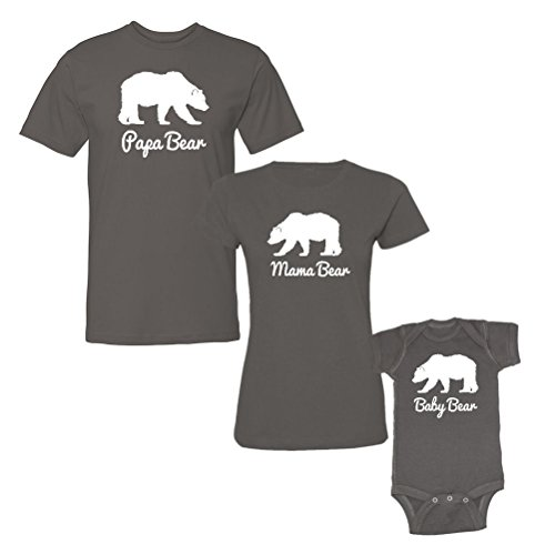 pa Bear, Mama Bear & Baby Bear (White Print) Matching T-Shirts & Bodysuit Set (Mens XL/Womens Large/Baby NB, Charcoal) (3 Piece Print Onesie)