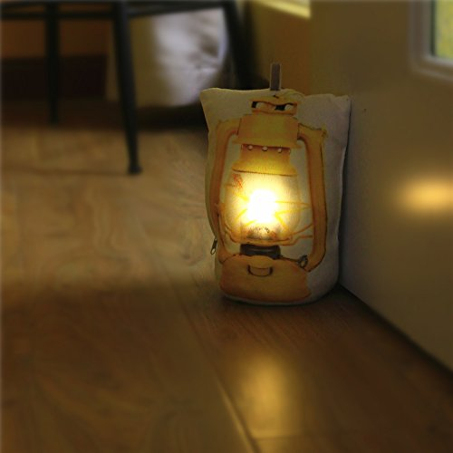 DECOSY Creative LED Door Stops - Decorative 3D Kerosene Lantern Printed Night Light Floor Decor - Home Security Door Holder Sandbag - Plush Pillow Shape Stuffed Toys Yellow by DECOSY