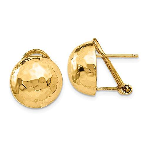 14k Hammered Omega Back Post Earrings, 14 kt Yellow Gold