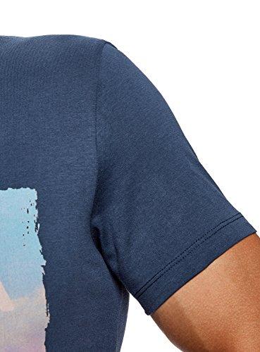 Oodji shirt Ultra Avec 7947p T Homme Bleu Imprimé Estival rwrqASU