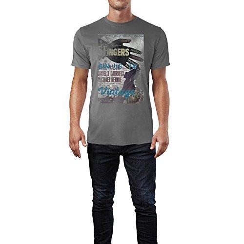 SINUS ART® 5 Fingers Herren T-Shirts graues Cooles Fun Shirt mit tollen Aufdruck
