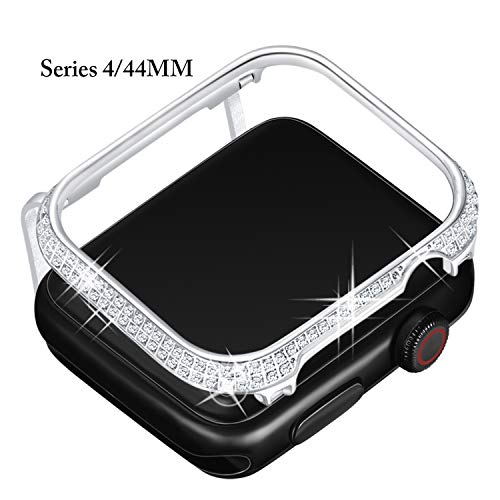 Callancity Metal Rhinestone Crystal Diamond Jewelry Bezel Case Face Cover Compatible Apple Watch Series 4 White Crystals for Men/Women (44MM Platinum) ()
