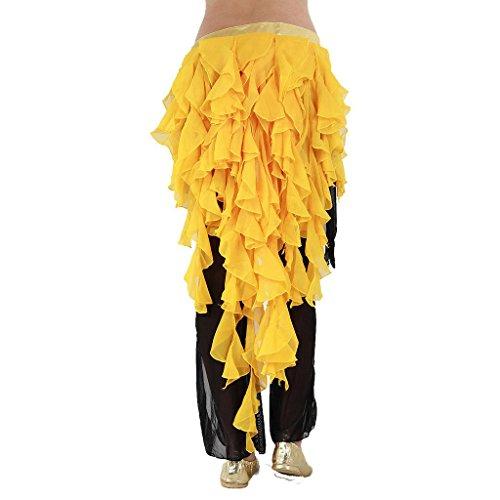 - Pilot-trade Women's Belly Dance Hip Scarf Belt Skirt Latin Dance Belt Performance Tassel Wave skirt Yellow