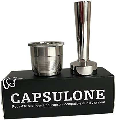 CAPSULONE stainless steel metal refillable reusable capsule and tamper compatible with illy capsules filter machine