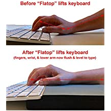 FLATOP: Raising Your Keyboard to be Level with Your Fingers, Wrist and Lower arm for Faster, Comfortable Typing - Model 1-4 (thinner Keyboards) or Model 1-2 (Thicker Keyboards)
