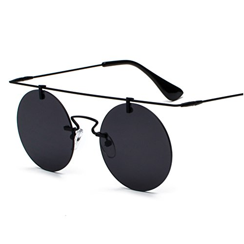 bda4346c7e Amazon.com  Rimless Sunglasses for Women Flat Top Vintage Round Sun Glasses  Men Retro Unisex (black with red)  Clothing
