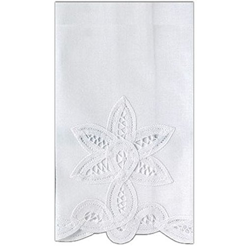 Lace Guest Towels - Guest Bath Tea Hand Towel White Linen with Handcrafted Battenberg Lace 14 X 22 Inch