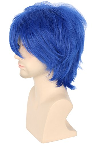 Topcosplay Men or Women Cosplay Wig Short Blue Layered Fluffy Halloween Costume Wigs