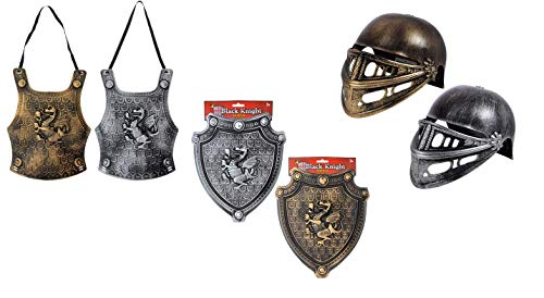 Black Knight Plastic Chest Plate, Shield & Helmet