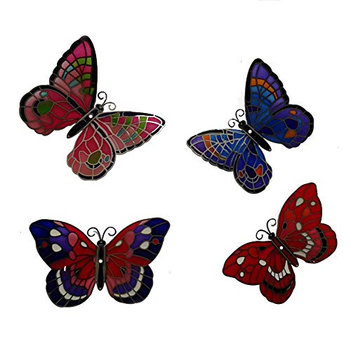 4-piece Set Refrigerator Magnet Memo Pad Hand-painted Art Glass Tiffany, Randomly Selected Butterfly (Four Big Butterflies)