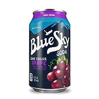 Blue Sky Cane Sugar Soda (Grape, 12 Ounce, Pack of 24)