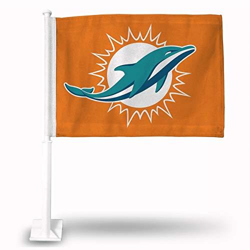 Miami Dolphins Car Flag - Rico Industries Miami Dolphins Orange Car Flag