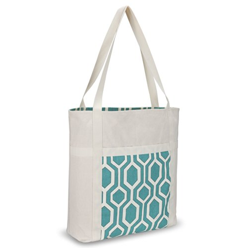 b Hexagon Beach Bag Handmade from Heavy Canvas Cotton (Size 17x15-inch) for MacBook and Laptop, Book Travel Bags - Teal (Tiffany Style Honey)