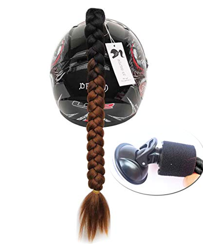 - 3T-SISTER Suction Cup Ponytail Motorcycle Helmet Pigtails Curly Braids Hair Synthetic Fibre Pony Tails Ombre Color 22Inch