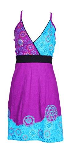 Vestido resbalón de las mujeres con colorida flor del bordado morado
