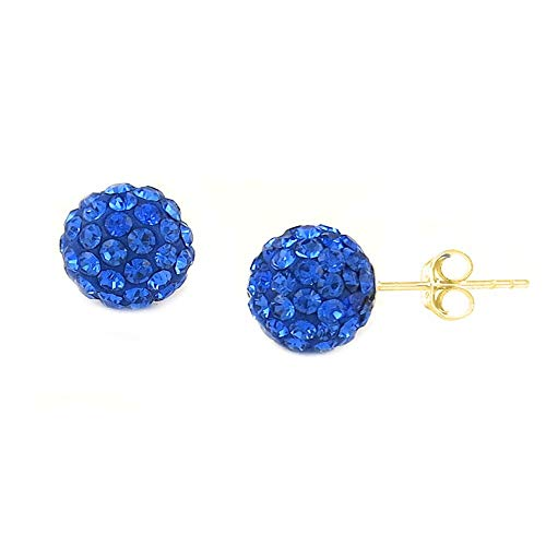 Verona Jewelers Womens 14K Gold Austrian Crystal Ball Stud Earrings- 8MM Ball Stud Earrings for Women. Disco Ball Earrings (Royal Blue)