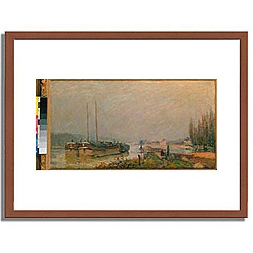 アルフレッドシスレー「At the riverbank of the Seine. 1879 」 インテリア アート 絵画 プリント 額装作品 フレーム:木製(茶) サイズ:M (306mm X 397mm) B00L7CKI8Y 2.M (306mm x 397mm)|1.フレーム:木製(茶) 1.フレーム:木製(茶) 2.M (306mm x 397mm)