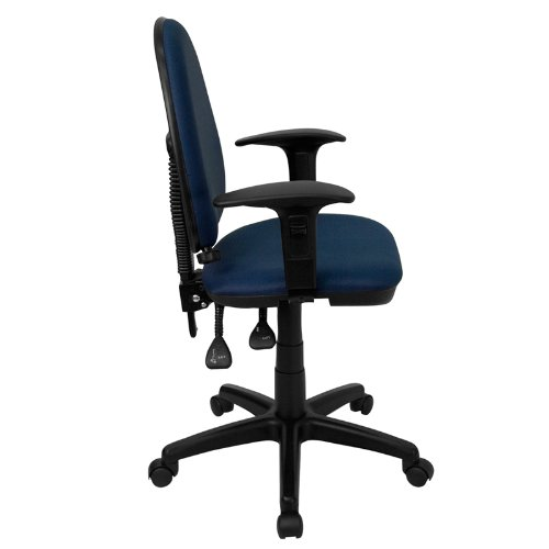 Flash Furniture Mid-Back Navy Blue Fabric Multifunction Swivel Task Chair with Adjustable Lumbar Support and Adjustable Arms