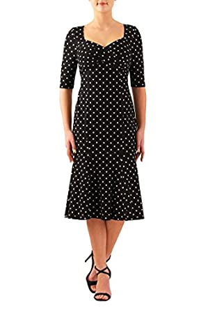 1950s Swing Dresses 1930s Polka dot cotton knit flounce hem dress $52.95 AT vintagedancer.com