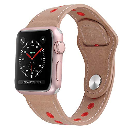 NO1seller Top Compatible with Apple Watch Band 42mm 44mm 38mm 40mm, Genuine Leather Band Replacement for Apple Watch Series 4 3 2 1,Sport,Nike+,Edition (Creamy-White, 38mm/40mm)