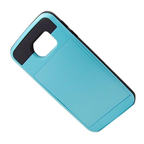 Telefon-Kasten - SODIAL(R)Karte Tasche Stossfeste Duenne Hybrid Mappe Abdeckung fuer Samsung Galaxy S6 Edge Blau
