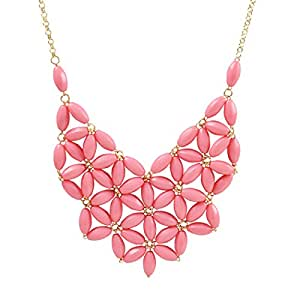 Pink Bib Necklace, Chunky Necklace, Statement Necklace (Fn0511-Pink)
