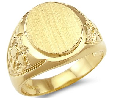 Size- 6.5 - 14k Yellow Gold Mens Round Plate Heavy Nugget Ring Band (Nugget Ring Yellow Gold)