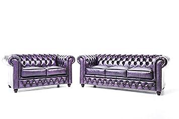 The Chesterfield Brand - Conjunto Sofás Chester Púrpura ...
