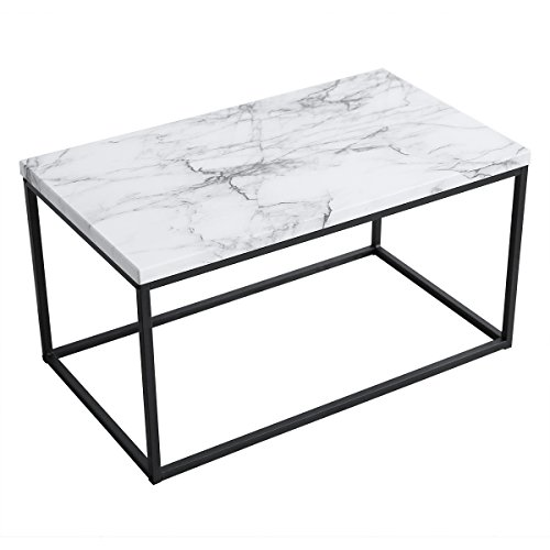 Roomfitters White Marble Print Coffee Table, Upgraded Water Resistant Version, Accent Rectangular Cocktail Table with Black Metal Box ()