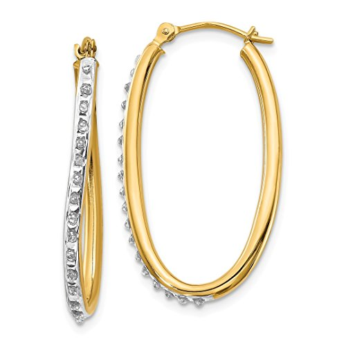 14k Yellow Gold Diamond Fascination Oval Twist Hoop Earrings Ear Hoops Set Fine Jewelry For Women Gift Set ()