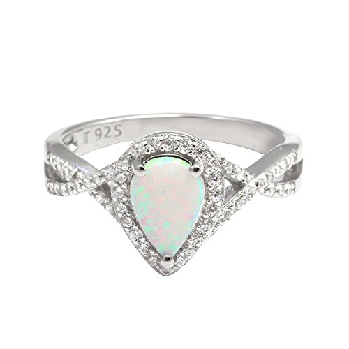Halo Teardrop Fashion Ring Infinity Twist Shank Pear Created Opal Round CZ 925 Sterling Silver Choose Color